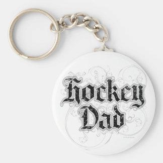 Hockey Dad Basic Round Button Key Ring