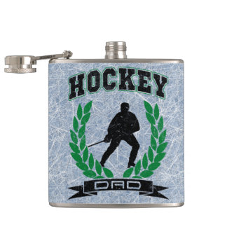 Hockey Dad Hip Flask With Ice Background
