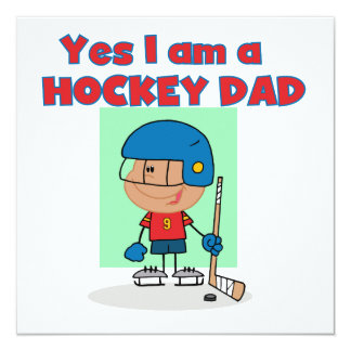 Hockey Dad T-shirts and Gifts 5.25x5.25 Square Paper Invitation Card