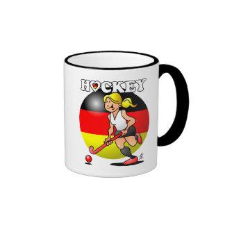 Hockey Dame des deutschen Feldhockey -Team. Ringer Mug