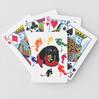 Hockey Doxie Bicycle Playing Cards