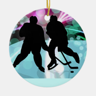 Hockey Duo Face Off Ornaments