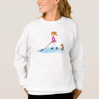 Hockey Girl Cartoon Pink Sweatshirt