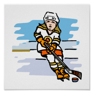Hockey girl Orange Poster