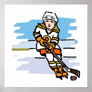 Hockey girl Orange Poster