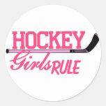 Hockey Girls Rule Round Sticker