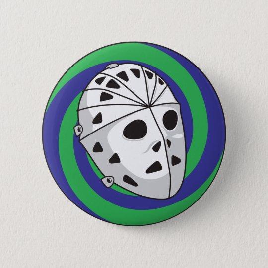 hockey goalie mask 6 cm round badge