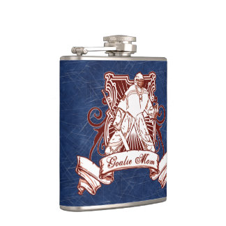 Hockey Goalie Mom Hip Flask, Ice Background Flasks