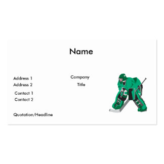 hockey goalie ready business card
