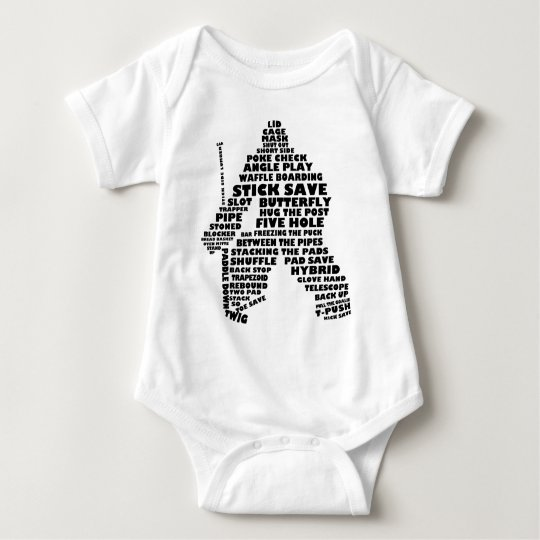 Hockey Goalie Text Art Baby Bodysuit
