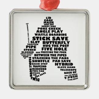 Hockey Goalie Text Art Christmas Ornament