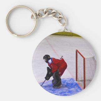 hockey goalkeeper basic round button key ring