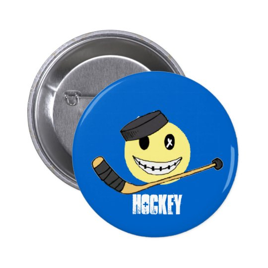 HOCKEY HAPPY 6 CM ROUND BADGE