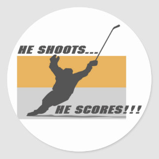Hockey: He shoots...he scores! Round Sticker