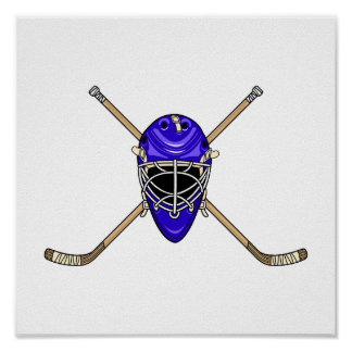 Hockey Helmet & Cross Sticks Blue Poster