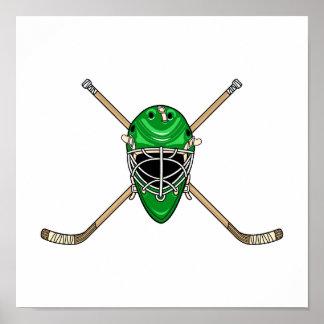 Hockey Helmet & Cross Sticks Green Poster