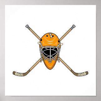 Hockey Helmet & Cross Sticks Orange Poster