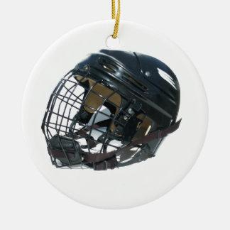 Hockey Helmet Round Ceramic Decoration