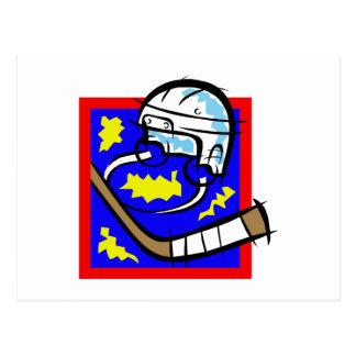 Hockey Helmet & Stick Postcard