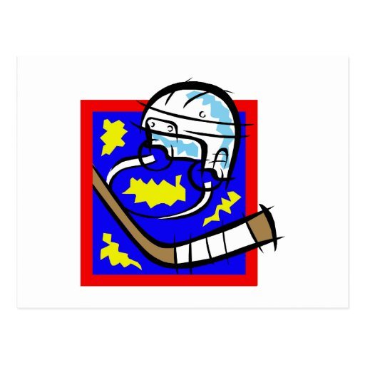 Hockey Helmet & Stick Post Card