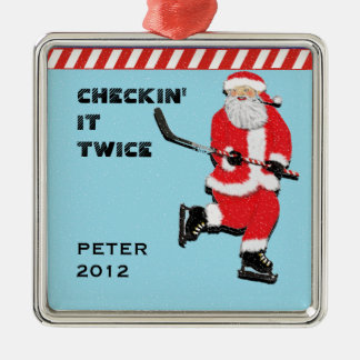 hockey holiday Silver-Colored square decoration