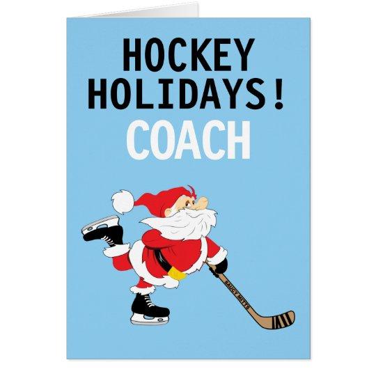 Hockey Holidays Coach Santa Skating Christmas Card