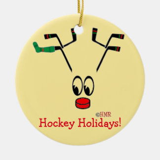 Hockey Holidays Reindeer Ornament ~ Hockey Mom!