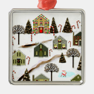 hockey holidays Silver-Colored square decoration