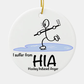 Hockey induced anger Christmas ornament