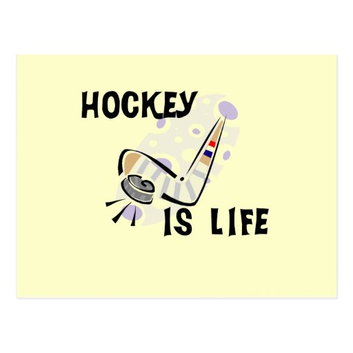 Hockey Is Life Puck and Stick T-shirts and Gifts Post Card