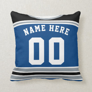 Hockey Jersey Name & Number Template Pillow Silver