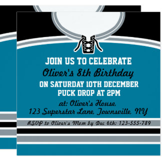 Hockey Jersey Themed Party Invite Template, Teal