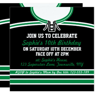 Hockey Jersey Themed Party Invites Template, Green