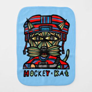 """Hockey Kat"" Burp Cloth"