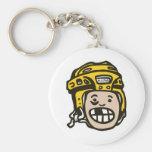 Hockey Kid Yellow Basic Round Button Key Ring
