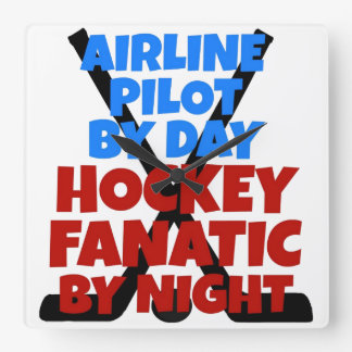 Hockey Lover Airline Pilot Square Wall Clock