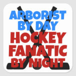 Hockey Lover Arborist Square Stickers
