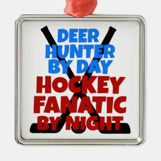 Hockey Lover Deer Hunter Christmas Ornament