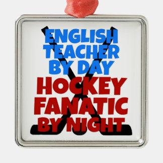 Hockey Lover English Teacher Silver-Colored Square Decoration