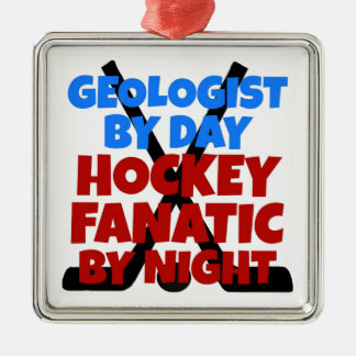 Hockey Lover Geologist Christmas Ornament