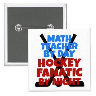 Hockey Lover Math Teacher 15 Cm Square Badge