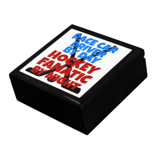 Hockey Lover Race Car Driver Large Square Gift Box