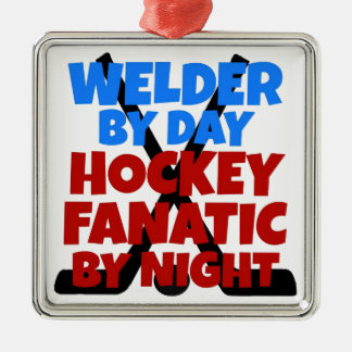 Hockey Lover Welder Silver-Colored Square Decoration