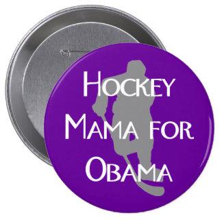 """Hockey Mama for Obama"" Dark Button"