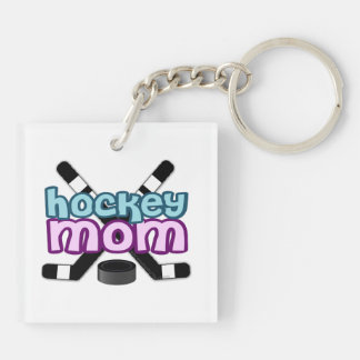 Hockey Mom Double-Sided Square Acrylic Key Ring