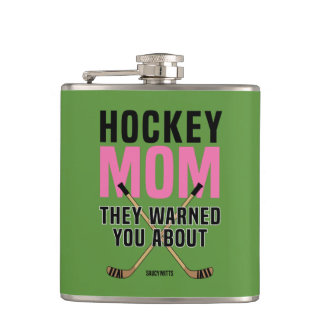 Hockey Mom They Warned You About Green Hip Flask