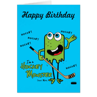 Hockey Monster Green Greeting Card