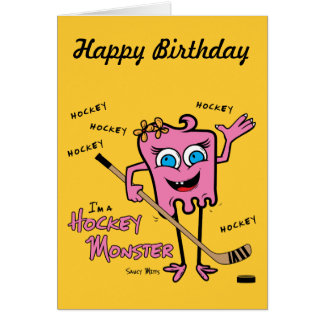 Hockey Monster Pink Greeting Card