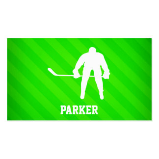 Hockey; Neon Green Stripes Pack Of Standard Business Cards
