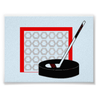 Hockey Net, Stick and Puck Poster